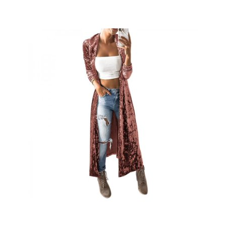 Nicesee Women's Velvet Long Sleeve Casual Cardigan Long Trench