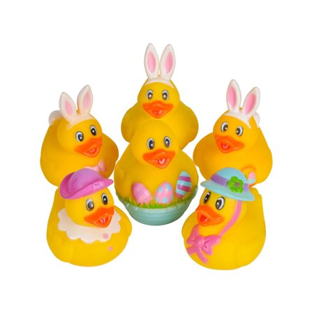 Set Of 12 Easter Bunny Rabbit Rubber Duckies Bath Ducks Toys - Rubber Duck Party Supplies