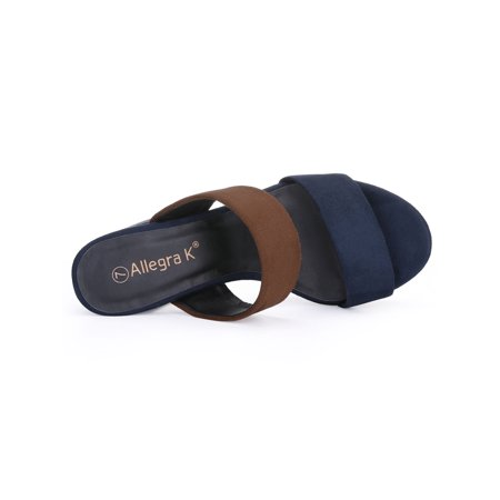 Unique Bargains Women's Color Block Platform Chunky Slide Sandals Brown (Size 9) - image 6 of 7
