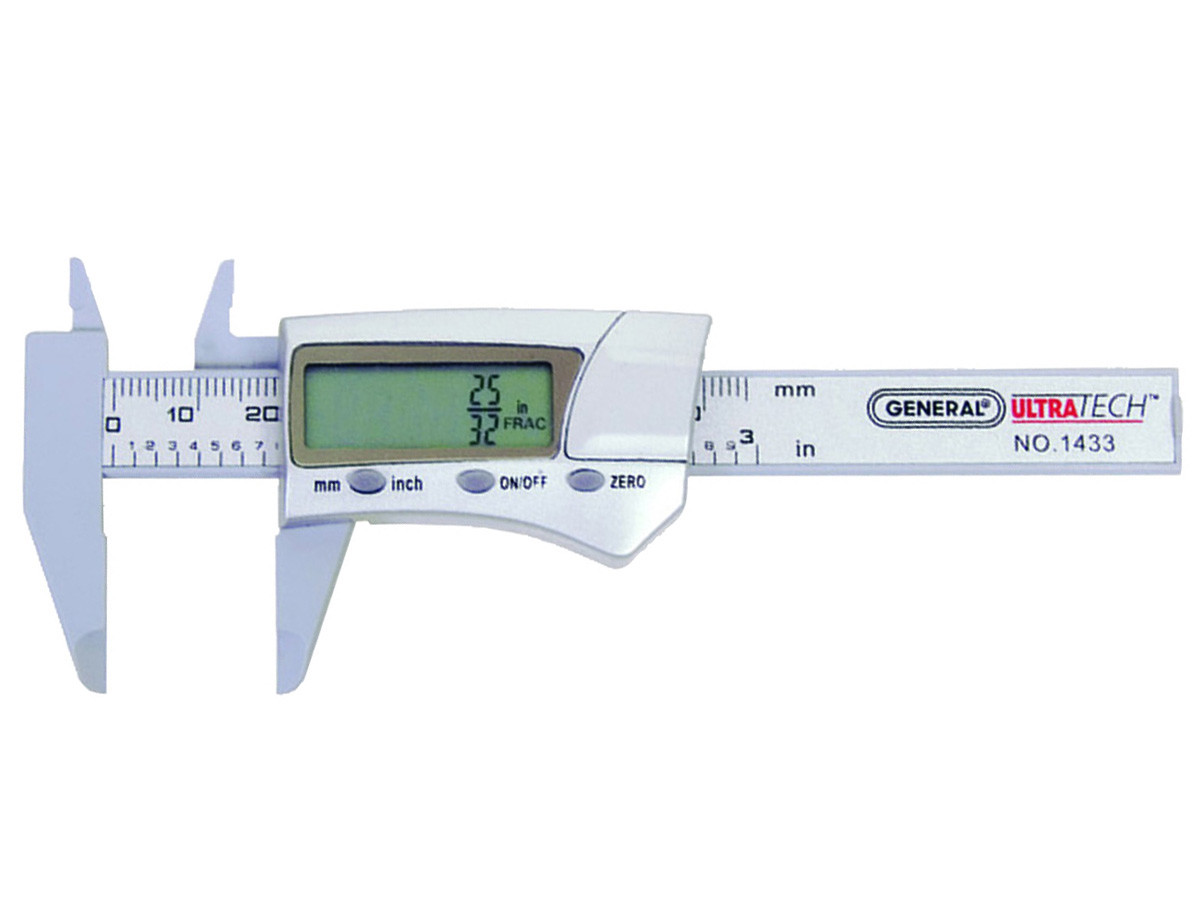General Tools 1433 Fraction Plus Digital Fractional Caliper, Carbon Fiber, 3-Inch by General Tools