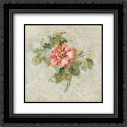 Provence Rose II Red and Neutral 2x Matted 20x20 Black Ornate Framed Art Print by Blum, Cheri