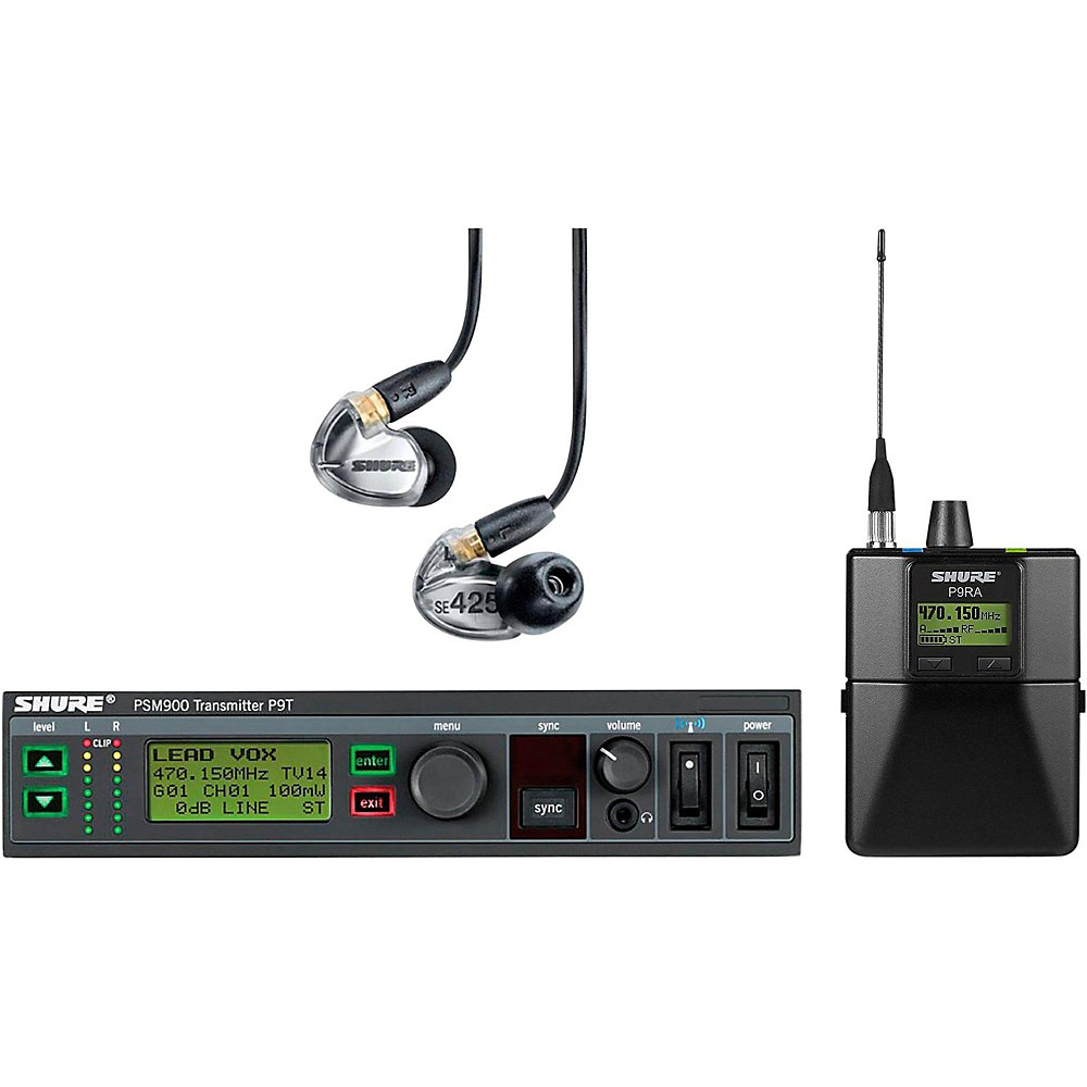 Shure P9TRA425CL-G7 PSM900 Wireless Monitoring System with Rackmountable P9T Transmitter, P9RA Rechargeable Bodypack Receiver and SE425-CL Earphones