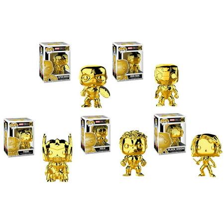 Funko POP! Marvel Studios 10 Vinyl Figures - SET OF 5 AVENGERS (Iron Man, Hulk, Thor +2)(Gold Chrome (Gold Husky Head)