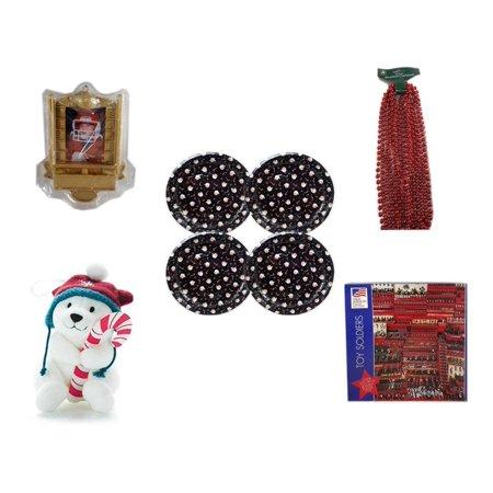 Christmas Fun Gift Bundle [5 Piece] - Hallmark Football Photo Frame Ornament QXG4765 -  Time Red Beaded Garland 18' Feet -  Tin Plate/Dish 9
