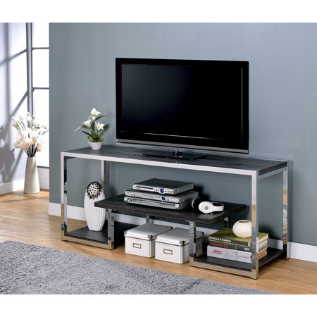 "72"" Metal Frame  TV Stand With 3 Open Shelves In Gray And Chrome Silver"