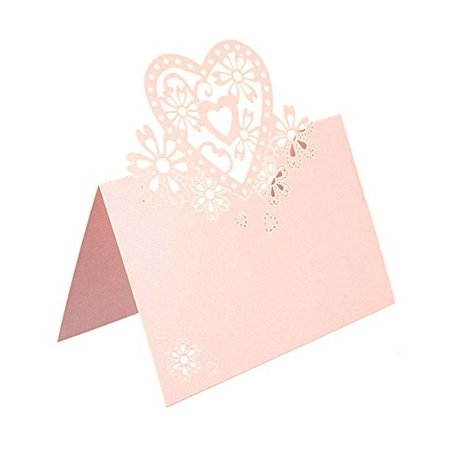 50pcs Love Heart Name Tag / Place Card / Seat Card / Name Card / Table Card for Weddings Feasts or Parties (Pink) - Halloween Party Names Clever