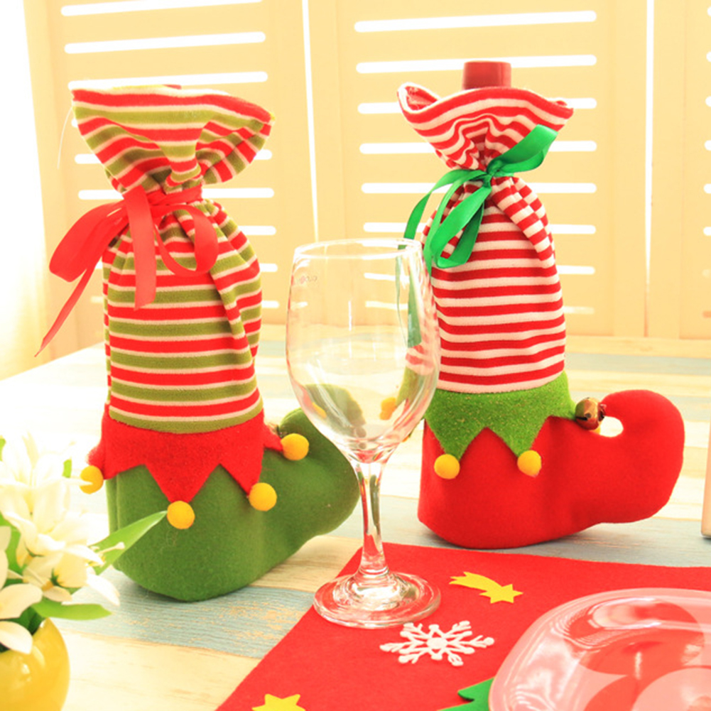 Moderna Christmas Gift Bag Elf Boot Candy Holiday Christmas Wine Bottle Cover Pouch