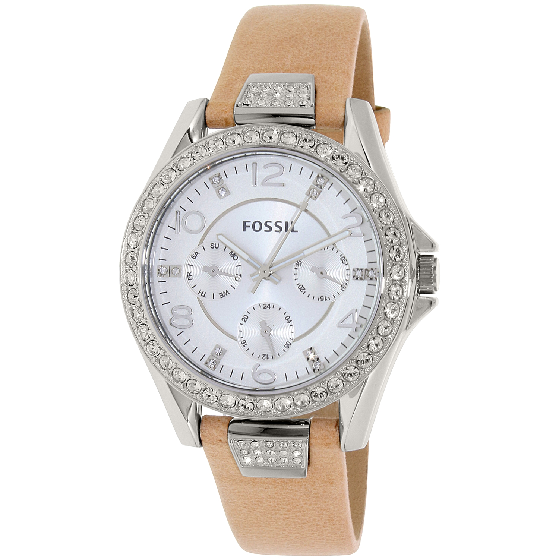 Fossil Women's Riley ES3889 Beige Leather Quartz Watch