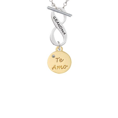 - Gold Tone Te Amo Disc Grandma Infinity Toggle Chain Necklace