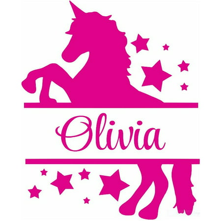 Personalized Name Vinyl Decal Sticker Custom Initial Wall Art Personalization Decor Childrens Girls Bedroom Magic Fairytale Unicorn Pony Stars 12 Inches X 12 Inches ()