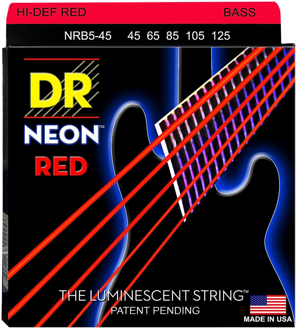 DR Strings Hi-Def NEON Red Coated Medium 5-String (45-125) Bass Guitar Strings by DR Strings