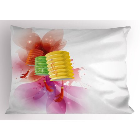 Lantern Pillow Sham Mid Autumn Celebration Singapore China East Culture Festival Candles Happiness, Decorative Standard Size Printed Pillowcase, 26 X 20 Inches, Multicolor, by Ambesonne