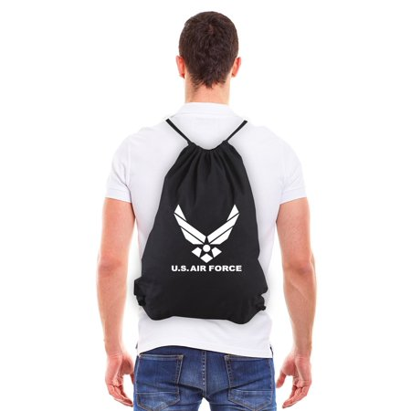 - US Air Force Eco-Friendly Reusable Canvas Draw String Bag Black & White