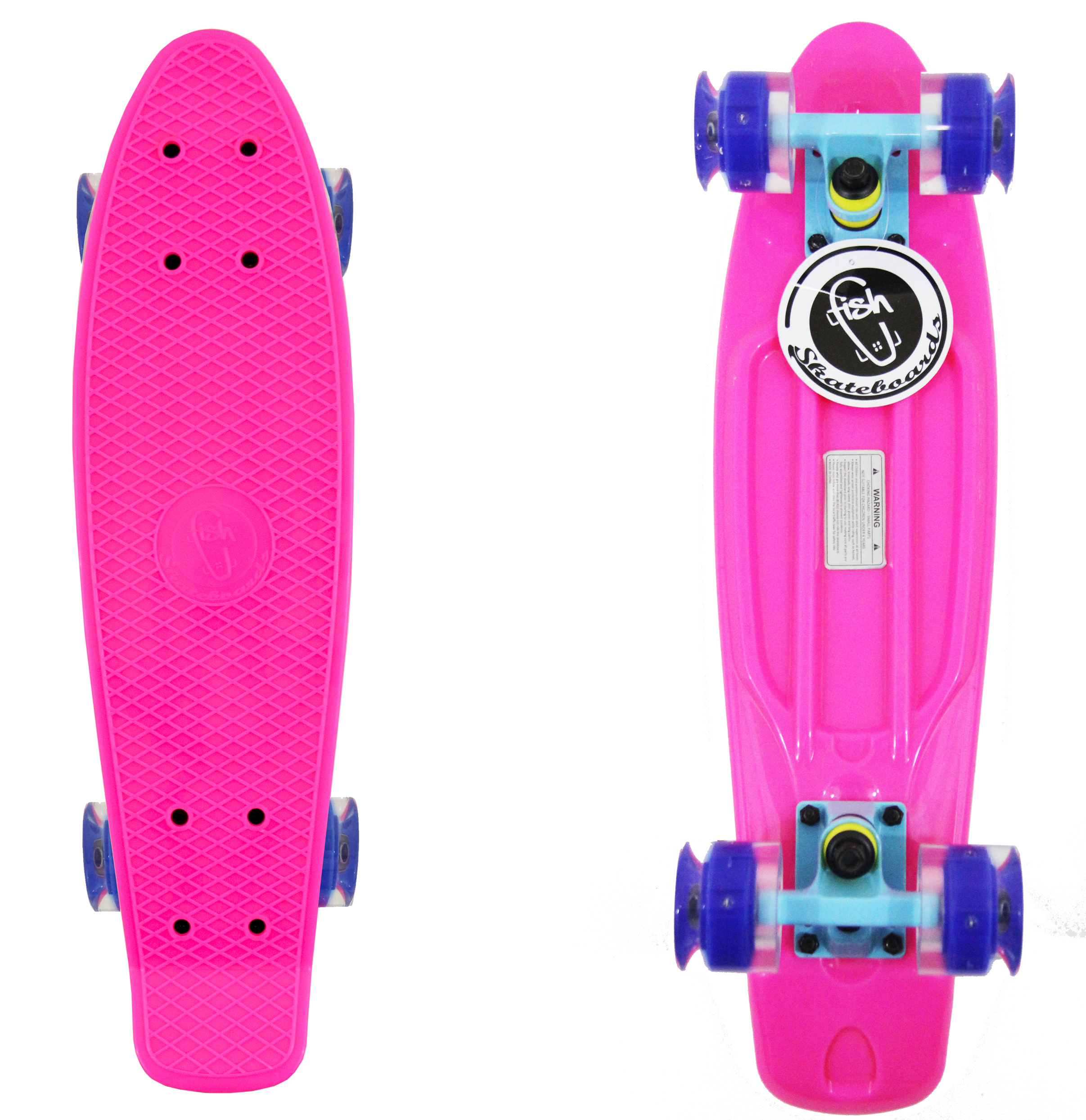 PInk Fish Skateboard Plastic Retro Blank Cruiser Blue Trucks Blue LED Wheels