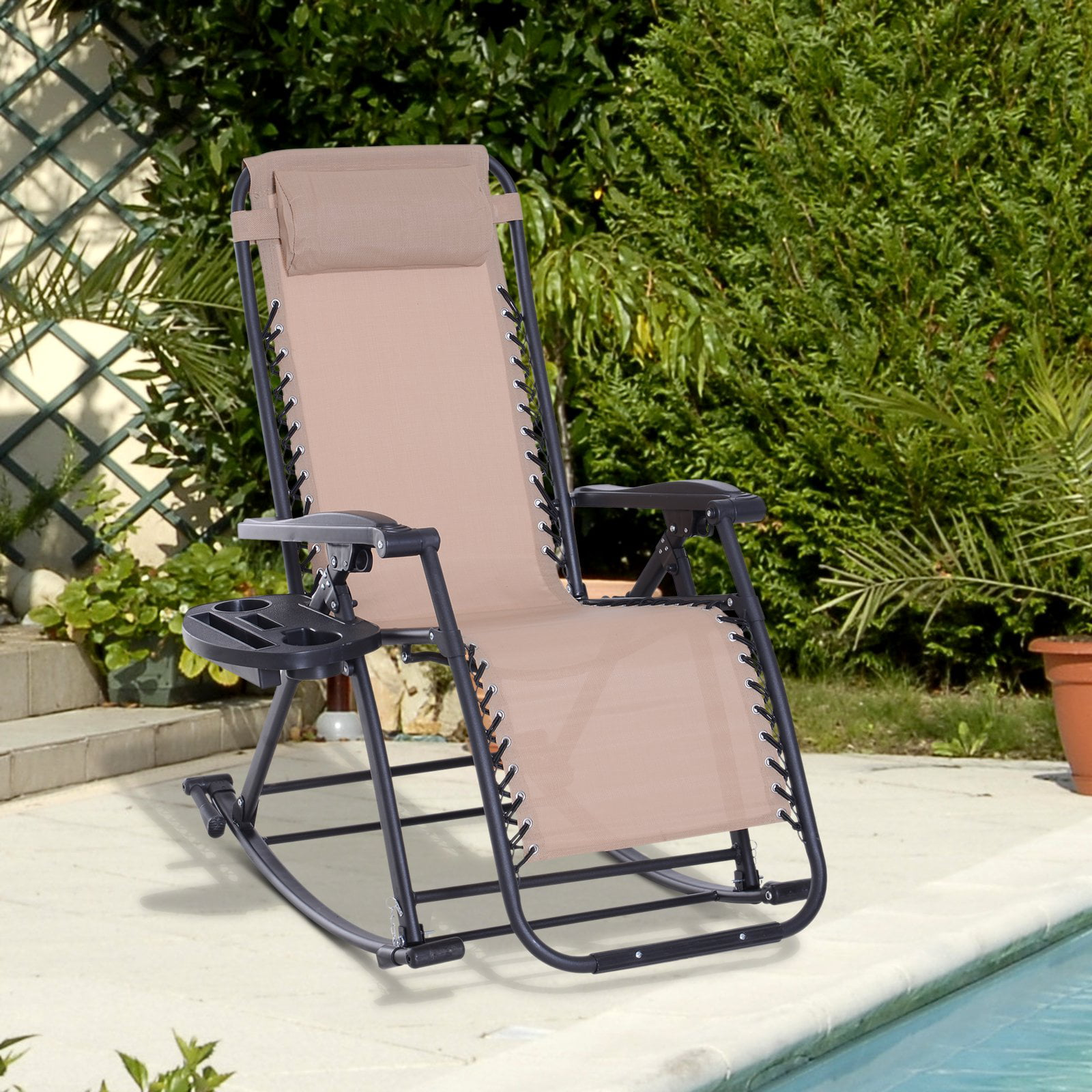Folding Zero Gravity Rocking Lounge Chair With Cup Holder Beige