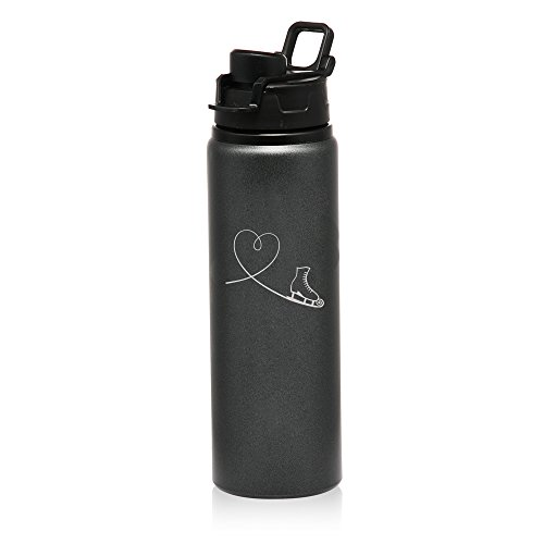 25 oz Aluminum Sports Water Travel Bottle Heart Love Ice Skating (Charcoal) by