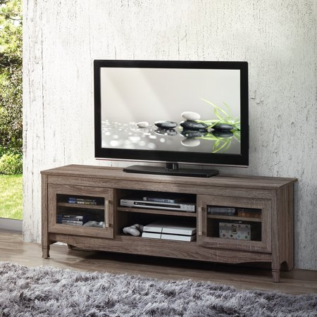 "Techni Mobili 53"" Driftwood TV Stand for TVs up to 65"", Grey"