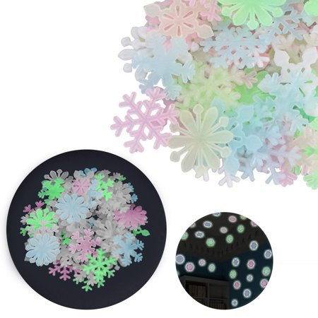 Fashion Glow In The Dark Snowflake 50pcs Fluorescent Wall Stickers Decal Baby Kids Bedroom Decor](Snowflake Decals)