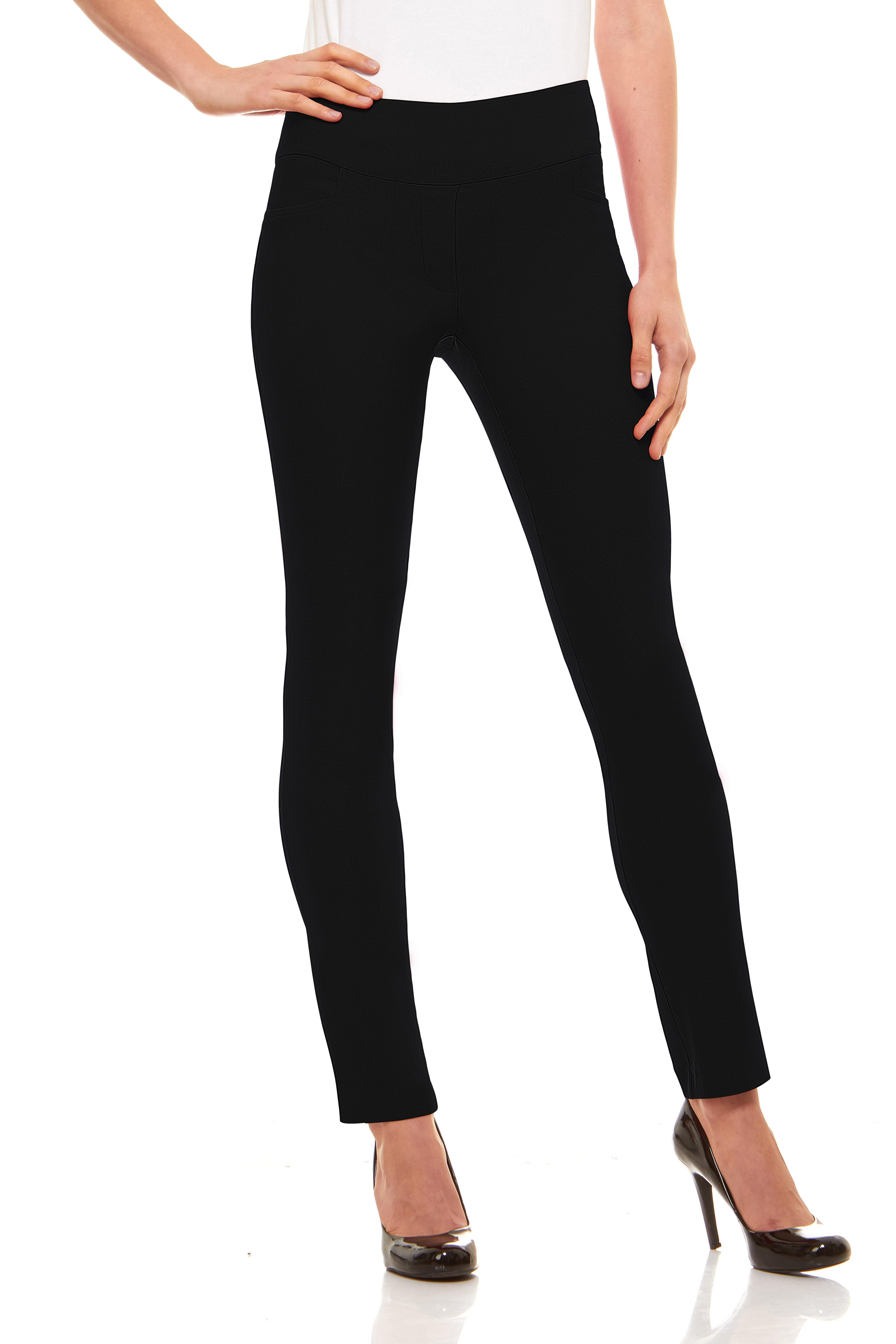 Womens Straight Leg Dress Pants Stretch Slim Fit Pull On