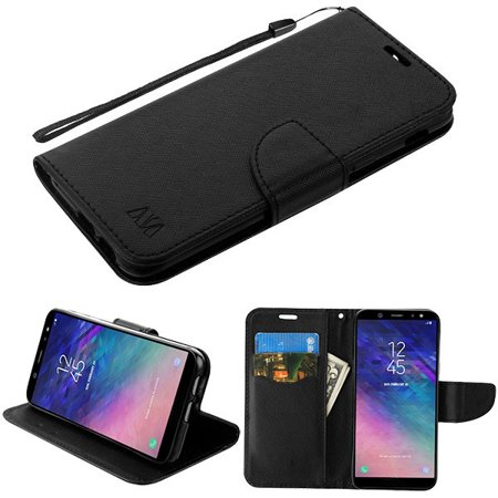 Samsung Galaxy A6 (2018 Model) - Pattern Flip Wallet Case Cover Stand Pouch Book Magnetic Buckle with Hand Strap Black Liner Phone Case for Samsung Galaxy A6 (2018 - Black Cape With Red Lining