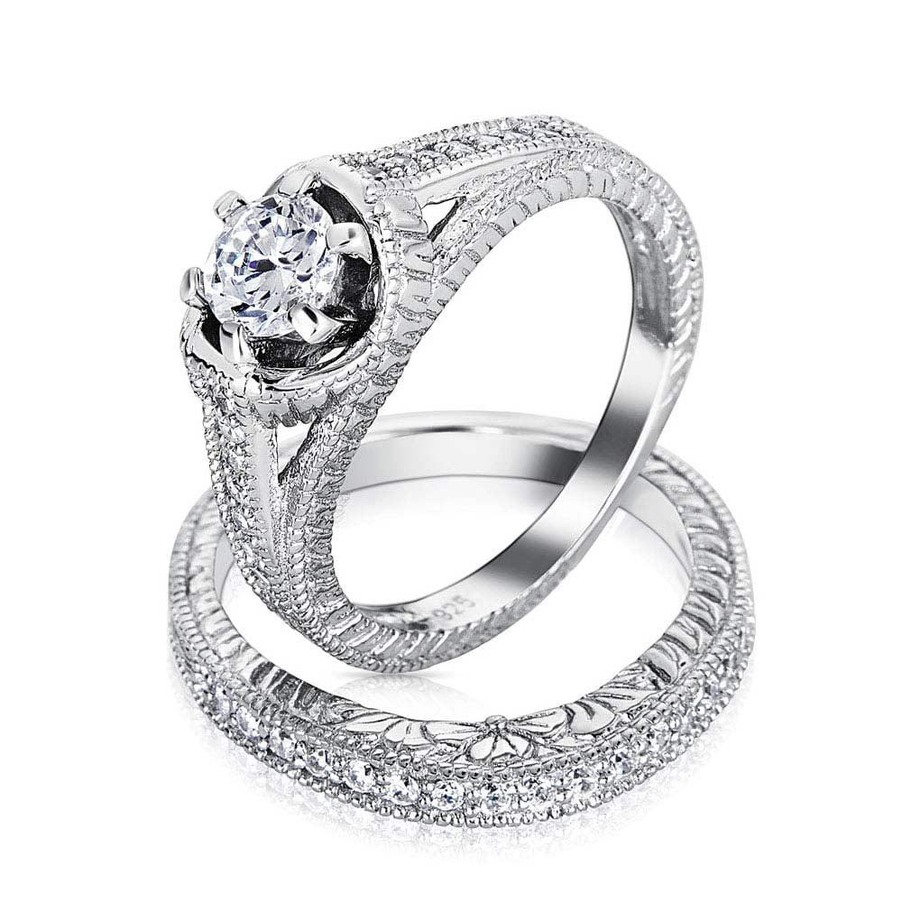 Bling 1.5ct CZ Vintage Style Engagement Wedding Ring Set ...