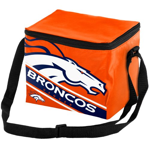 Forever Collectibles Big Logo Stripe 6 Pack Cooler, Denver Broncos