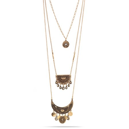 Oxidized Silver Jewellery - TAZZA WOMEN'S OXIDIZED ANTIQUE LOOK VINTAGE BOHO GOLD-TONE CHARMS LAYERED NECKLACE