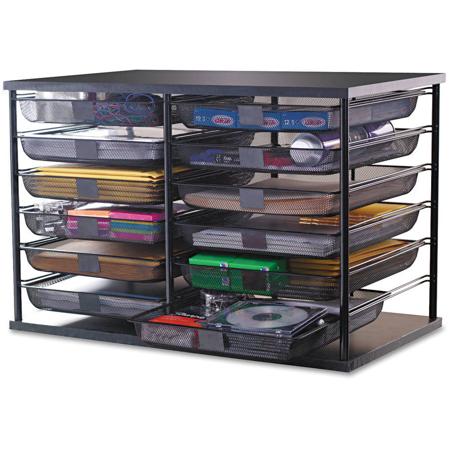 Rubbermaid 12 Compartment Organizer w/Mesh Drawers, Black