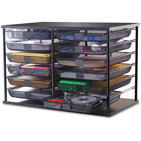Rubbermaid 12 compartment organizer w mesh drawers black - Rubbermaid desk organizer ...