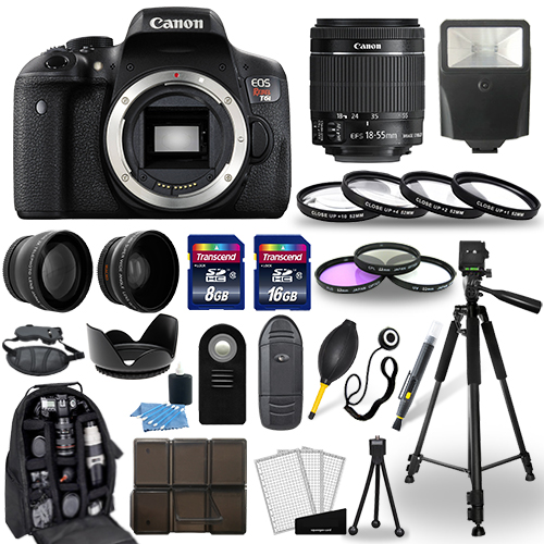 Canon EOS Rebel T6i SLR Camera + 18-55mm STM Lens + 30 Piece Accessory Bundle