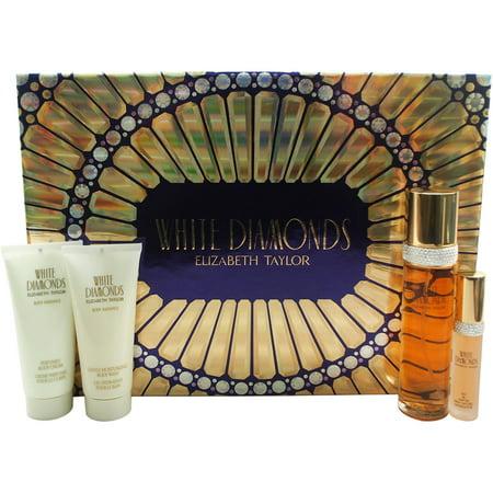 White Diamonds par Elizabeth Arden pour les femmes - 4 Pc Gift Set, 3,3 oz EDT vaporisateur 0,5 oz EDP vaporisateur, 3.3oz Wash hydratant corps, crème pour le corps 3,3 oz