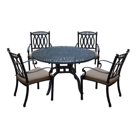 Oakland Living Milan Aluminum 5 Piece Dining Set with 48-inch Round Dining Table and 4 Fully Welded Cast Aluminum cushioned Dining Chairs