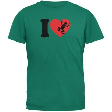 I Heart Love Poison Dart Frog Frogs Jade Green Adult T-Shirt