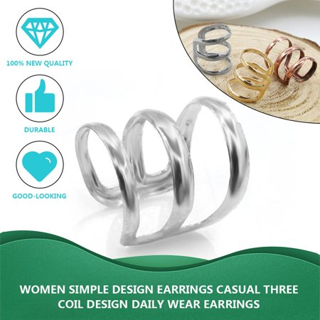 Women Simple Design Earrings Casual Three Coil Design Daily Wear Earrings - image 4 of 6