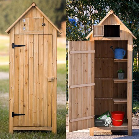 Ktaxon 70 inch Fir wood Arrow Shed Garden Shed Wooden Lockers with Single Door Natural wood color