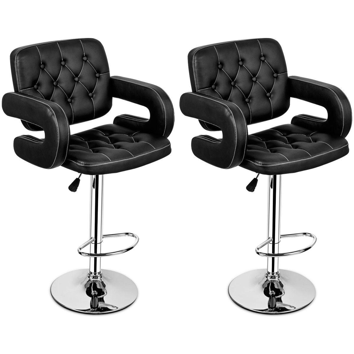 Costway Set of 2 PU Leather Swivel Bar Stools Hydraulic Pub Chair Adjustable Black by Costway
