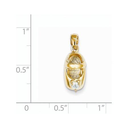 14k or jaune 3-D Avril / synth?tique Pierre Engraveable b?b? Chaussures (7x19mm) Pendentif / Breloque - image 3 de 3