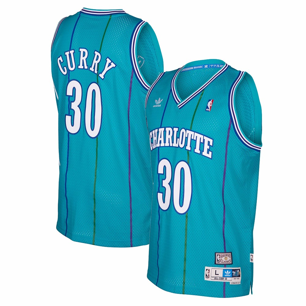 Dell Curry Charlotte Hornets NBA Adidas Teal 1991-92 Soul Swingman Throwback Road Away Jersey For Men