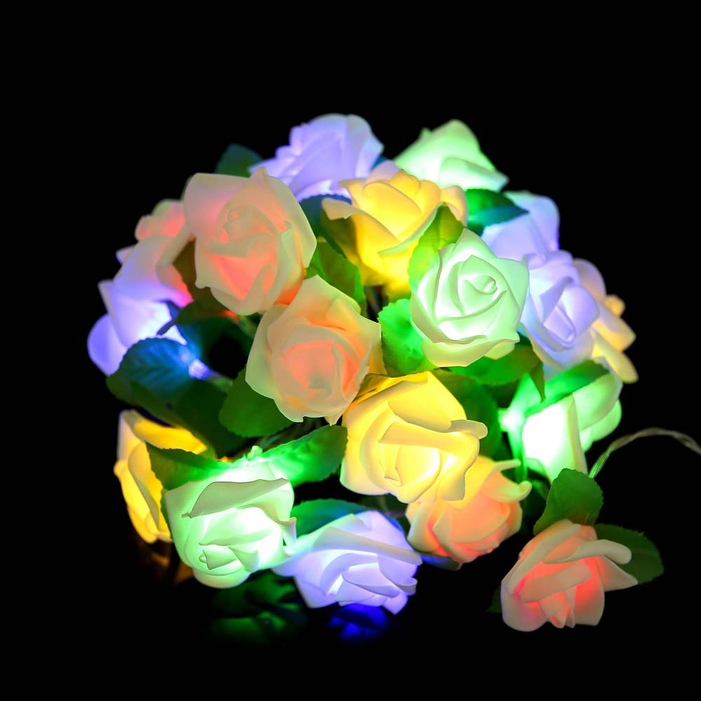 Rose LED Window Curtain Lights String Lamp Party Decor With 20 LED Beads
