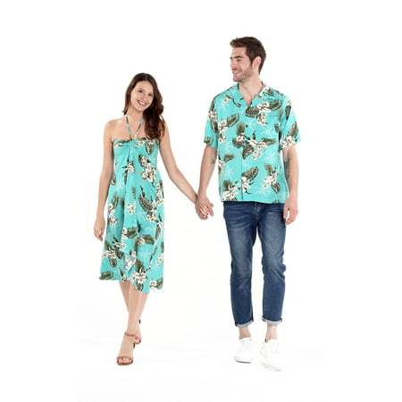 Couple Matching Hawaiian Luau Party Outfit Set Shirt Dress in Green Palm in Turquoise Men XL Women - Hawaiian Outfits For Party