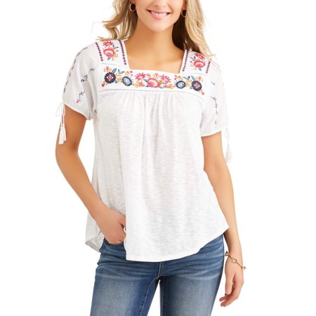 a5544042ddc2b Time and Tru - Women s Embroidered Peasant Top - Walmart.com