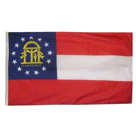 Nylon Georgia Indoor Flag - Georgia State Flag 3x5 ft. Nylon Official State Design Specifications.
