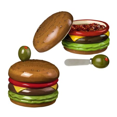 Grasslands Road Backyard BBQ Hamburger Dip Bowl with Olive Spreader, 3 Piece ()