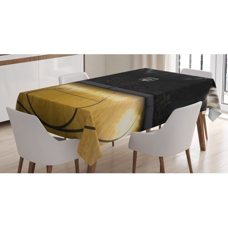 Teen Room Decor Tablecloth, Empty Basketball Arena Competition Game Win Champion Success Theme, Rectangular Table Cover for Dining Room Kitchen, 60 X 90 Inches, Light Coffee Black, by Ambesonne ()