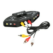 EpicDealz 3-Way Audio Video RCA Switch Signal Selector Splitter Box & 3' Composite AV Cable for Connecting 3 RCA Output Devices to TV