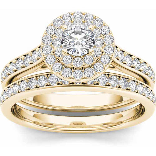 Imperial 1 Carat T.W. Diamond 10kt Yellow Gold Double Halo Engagement Ring Set