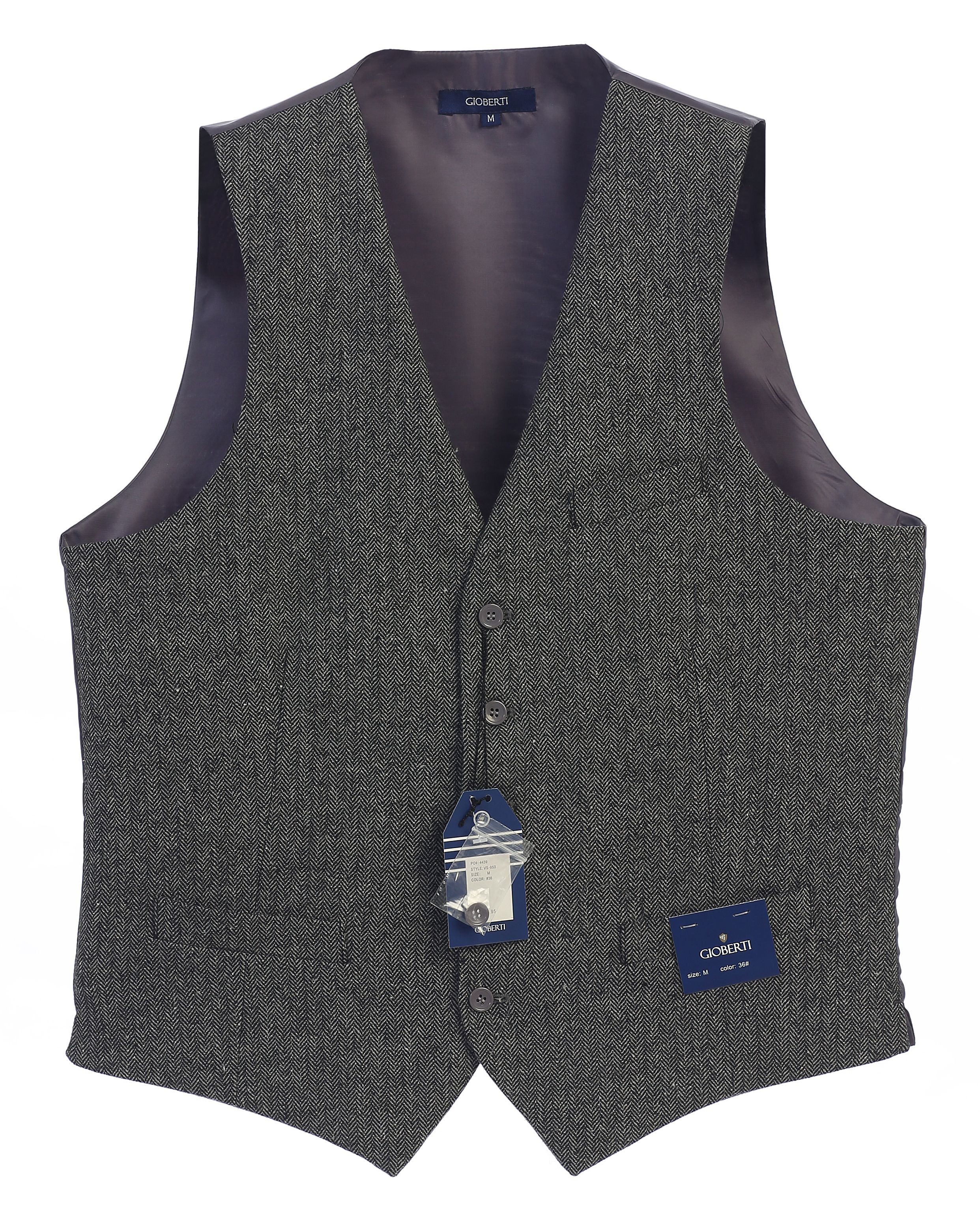 Gioberti Men's 5 Button Formal Casual Tweed Suit Vest
