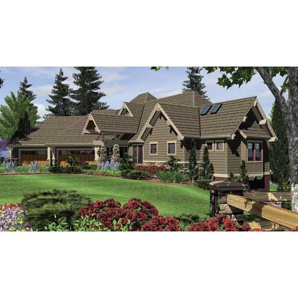 TheHouseDesigners-5555 Craftsman House Plan with Daylight Basement Foundation (5 Printed Sets)