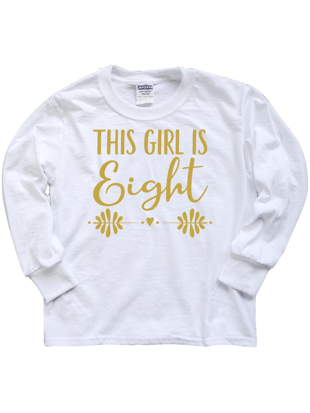 8th Birthday Gold Lettering Girls 8 Year Old Youth Long Sleeve T-Shirt