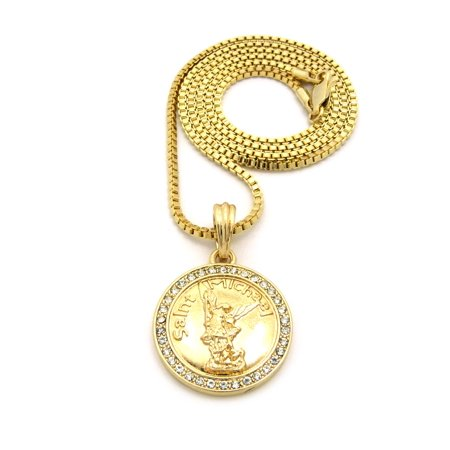 Stone stud saint michael archangel medal pendant 2mm 24 box chain stone stud saint michael archangel medal pendant 2mm 24 box chain necklace in gold aloadofball Choice Image